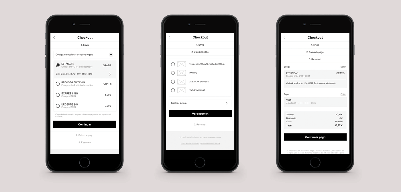 Mango mobile checkout - wireframe